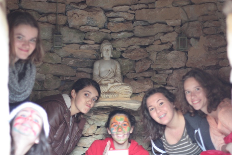 young folks with Buddha