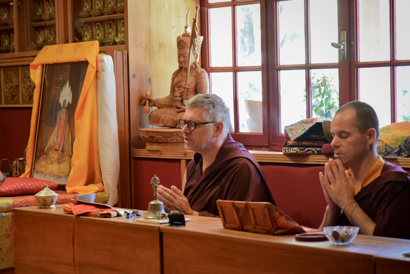 """""""Monks and nuns from Dhagpo Kundreul Ling made the trip especially to take turns guiding this practice."""""""