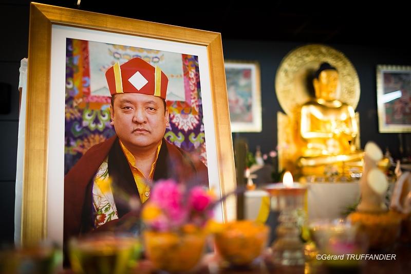 """""""Une grande photographie de Shamar Rinpoché trône devant un autel dressé spécialement pour lui"""""""
