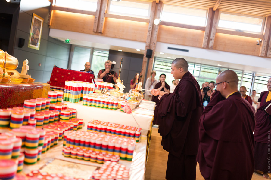 """The day began under the best auspices possible with the closing of a three day practice of preparatory rabné (consecration) rituels for the Institute and the large Buddha statue."""