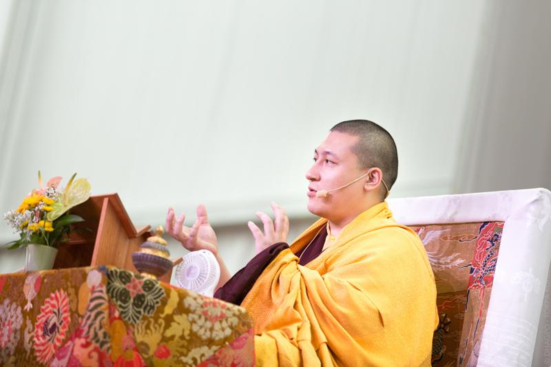 """""""Karmapa tient à redonner quelques instructions et à introduire l'assistance à la pratique de Tchenrézi, telle que lui-même l'a reçue. """""""